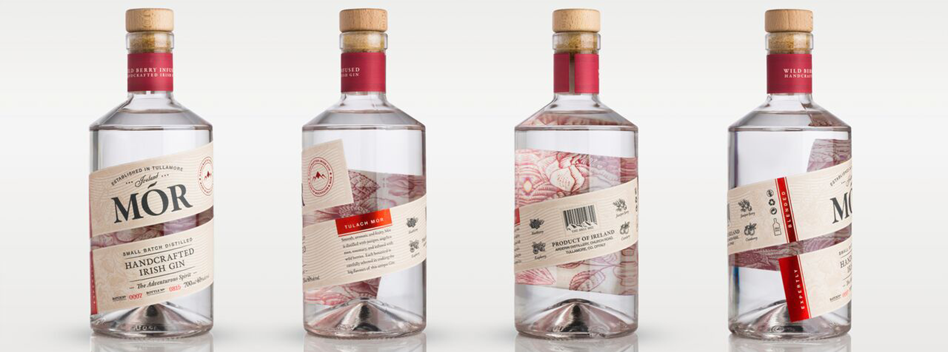 Landscape bottle images of the Mór Gin range from Arderin Distillery
