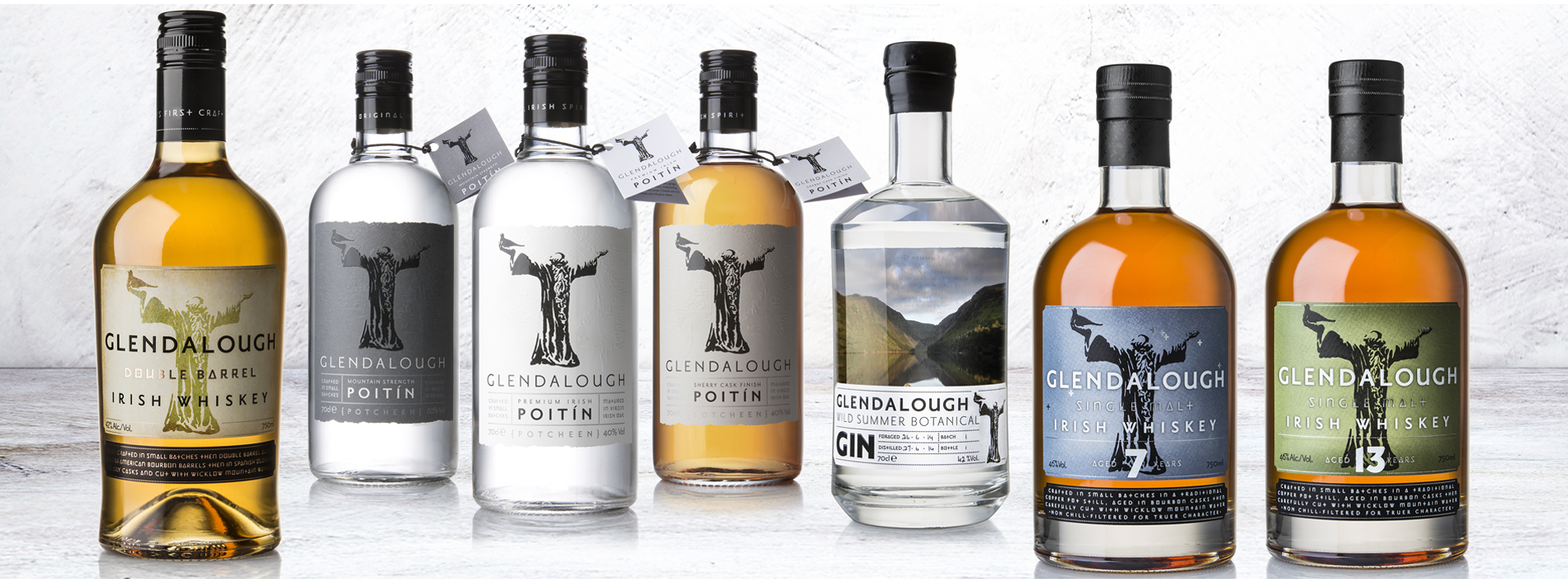 Landscape image of the Glendalough Distillery product range