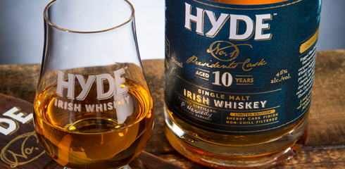 Image of Hyde No1 served on a Irish Whiskey platter.